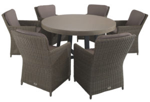 Amalfi 6 Seater Dining Set inTan with Hilton Mink Chairs